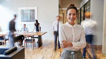 office, people, woman, smile, office desk, laptop, sofa, couch, meeting, walking, flipped version of original