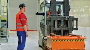 Health & Safety, fork-lift truck, orange, box, work, fabric, industrial, vest, orange, industry, Germany