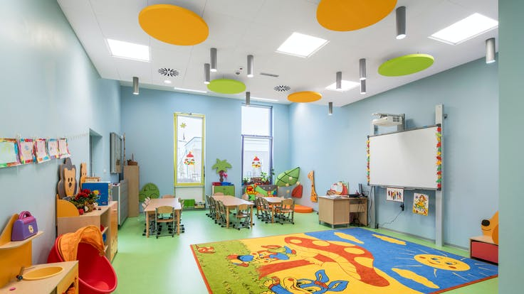 Complex of primary school and kindergarten,Poland,Wysoka,1.0000 m²,Monika Robaszko-Kowalska,Biuro Achitektoniczne Metropolis,Bartosz Makowski,ROCKFON Sonar,ROCKFON Eclipse,600x600,white