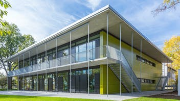 Day nursery in Stuttgart, Germany cladded with Rockpanel Colours RAL 095 50 50  facade cladding
