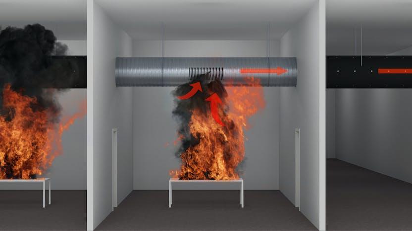 Conlit Fire Mat, circular ventilation duct, fire protection