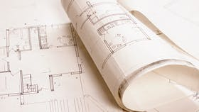 Architecture project drawings and renderings blueprint - building codes and standards for construction.