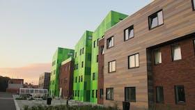 Student home Kotville, Brugge - Belgium. Rockpanel Woods, Rockpanel Colours.