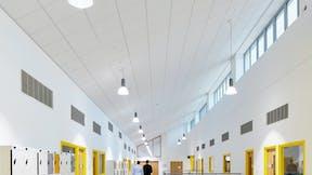 UK, Islwyn School, School, Rockfon Tropic dB, E edge, 600x600, white, Chicago Metallic T24 2890