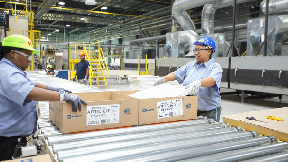 marshall county, mississippi, Mar 4, tile plant, manufacturing, Rockfon, ceiling tile, cartons, distribution