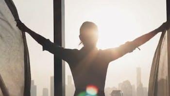 Video thumb, woman, sun, silhouette, window