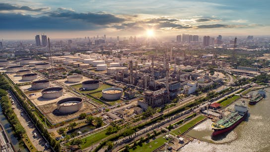 Aerial view, oil and gas industry, refinery, petrochemical plant