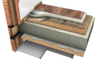 Floor, 02_SUELOS Y FORJADOS - Sobre y forjado - Adherido Bajo Forjado + techo acústico ROCKFON