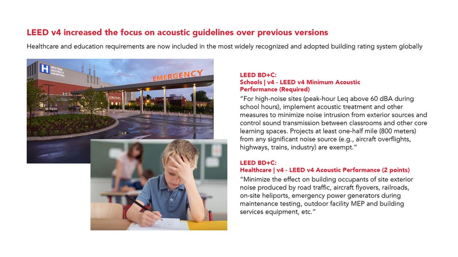 PNG - LEED v4 increased the focus on acoustic guidelines over previous versions - healthcare and education LEED BC+C within the building rating system.