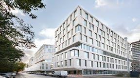 Exterior of Rigshospitalet in Copenhagen Denmark.