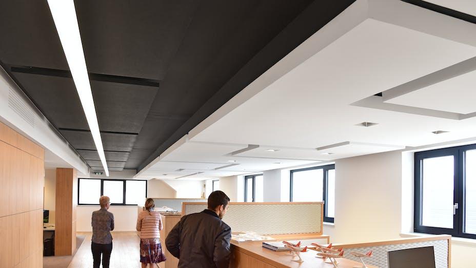 FR, Bureaux Soprema Strasbourg, 67025 Strasbourg, François Rémion, Office, Rockfon Mono Acoustic, TE edge, 1200x600, White, Open Plan Office