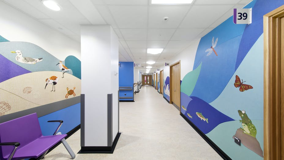Morriston Hospital,UK,Swansea,Wales,IBI Nightingale,Art In Site - For Eclipse Islands creation,BAM Construction,Morriston Hosptial-Swansea,Richard Kemble Ceilings-Medicare and Bay Productions-Eclipse,Matt Livey,ROCKFON Medicare,A24,600x600x20,white,Chicago Metallic T24 2850,Chicago Metallic T24 2890,Chicago Metallic T24 2890 ECR