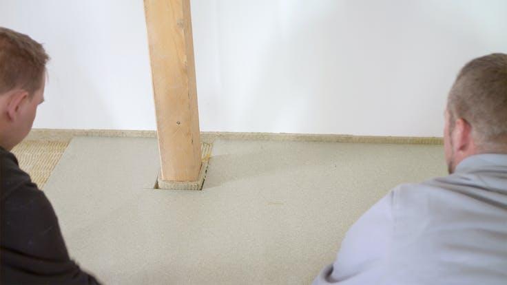 floor, floor insulation, impact sound, impact sound insulation, trittschall, trittschalldämmung, floorrock, floorrock ap, floorrock hp, randstreifen rst, installation, installation steps, video trittschall, 300 dpi, Steinwollefarbe retuschiert, Germany