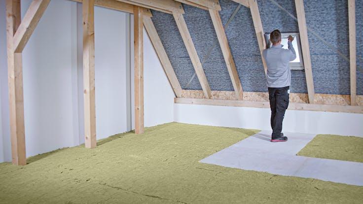 loft, attic, insulation, installation, installation steps, dachboden, oberste geschossdecke, verarbeitung, verarbeitungsschritte, germany, varirock, tegarock plus, wartungsweg