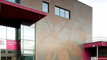 Sheffield Hallam University, in Sheffield, United Kingdom with glued and routed Rockpanel Colours exterior cladding