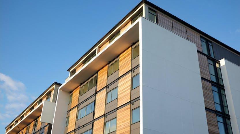 Building, exterior, modern, wall, wood, high rise