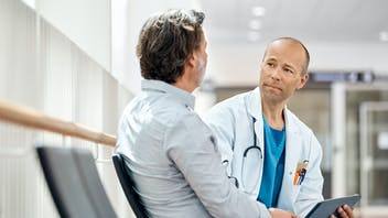 hospital, healthcare, doctor, patient, waiting room, tablet, dialogue, conversation