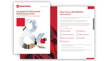 ROCKWOOL Core Solutions thumbnail image for prefabricated building construction brochure in English.