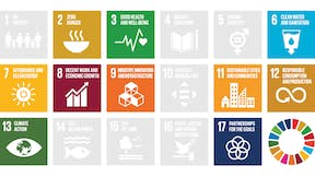 The ten Sustainable Development Goals / Global Goals that ROCKWOOL contributes to, Infographic from Sustainability Report 2017, ROCKWOOL Group