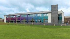 HERO Rockpanel Case Study Campion School Leamington Rockpanel Chameleon PGB Purple Green Blue