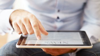 Surfing, looking, browsing the internet or mobile applications for news and/or information.