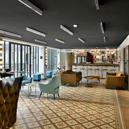 FR, Hotel des deux Girafes et Restaurant Bellay, Paris, Leisure, Rockfon Mono Acoustic, TE edge, 1200x600, Black, Reception