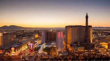 Las vegas sunset city skyline