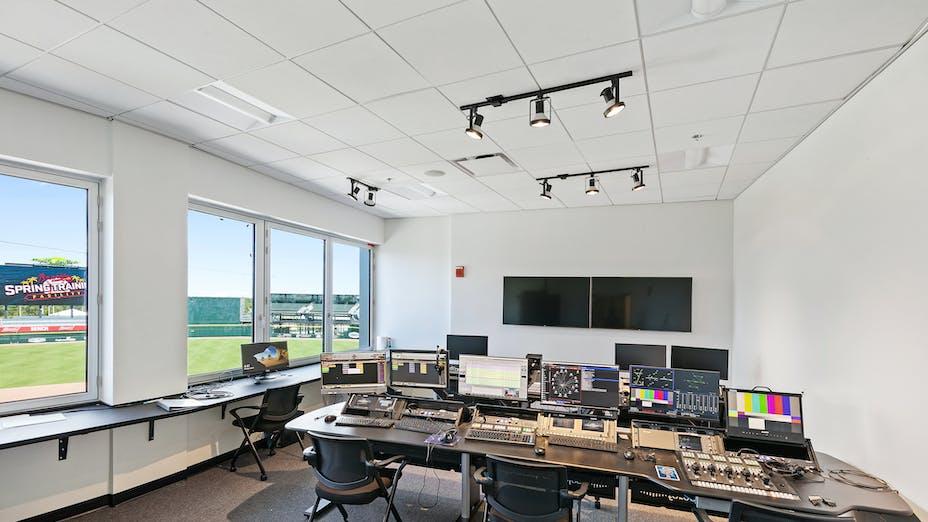 "NA, Atlanta Braves CoolToday Park, Artic SLN (E-Edge) 2x2, 4000 Tempra 9/16"", Stadium Control Room, Leisure, Fawley Bryant Architecture"