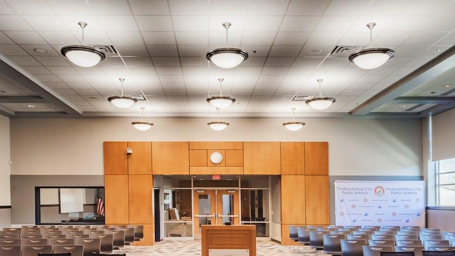 Walker-Grant Center, School, Auditorium, Meeting Room, RF-NA, Sonar SQ 2x2, Moseley Architects