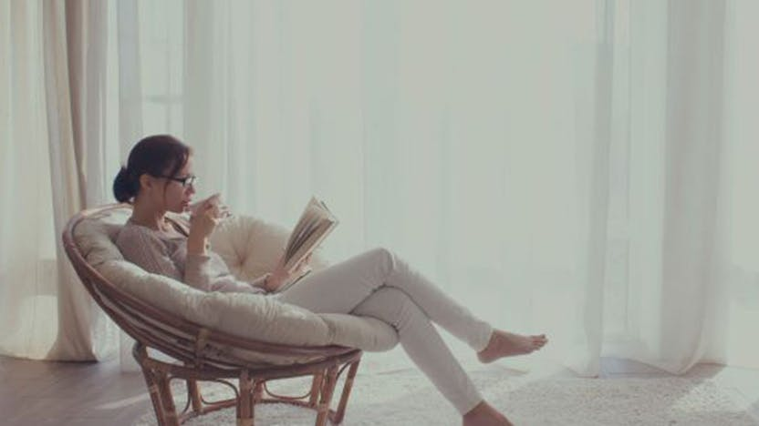 RockWorld imager, The Big Picture, woman, drinking, reading, sitting, indoor