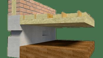 Floor insulation, roof, basement, Krypgrundsbjälklag av   trä
