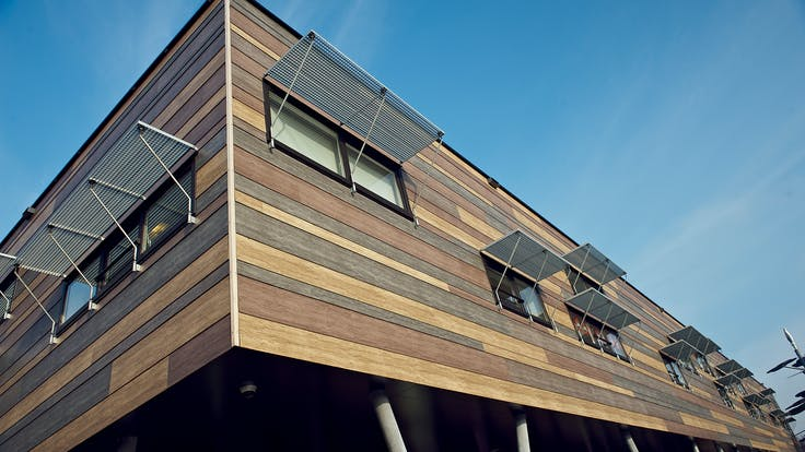 New school building cladded with Rockpanel Woods, located in Zaltbommel, The Netherlands