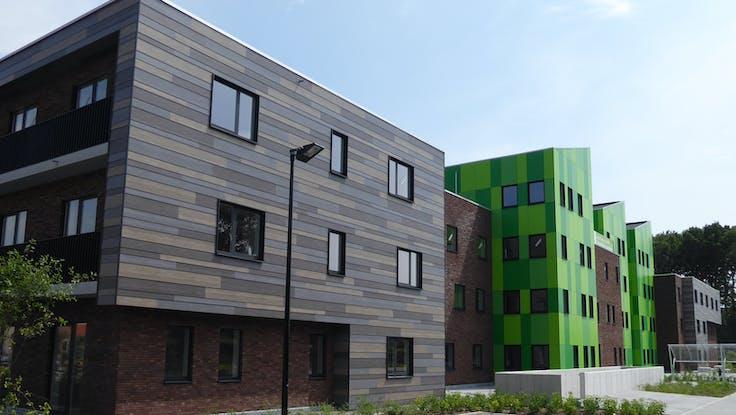 Student home Kotville, Brugge - Belgium. Rockpanel Woods, Rockpanel Colours