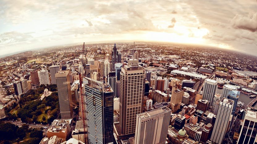 Aerial view of downtown Sydney at sunset, Australia.