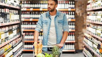 Illustrative image, retail, shopping, supermarket, man, trolley, cart, grocery