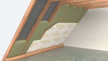 illustration, piched roof, insulation between the rafters, germany