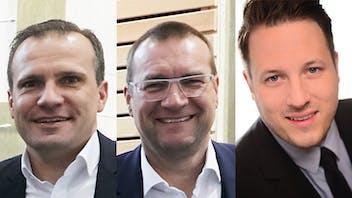 neuorganisation verkaufsleitung,  reorganization of sales management, three sales manager, drei Verkaufsleiter (von links), (from the left) Alexander Dengler (Verkaufsleiter Nord-West), Reinhard Lindner (Verkaufsleiter Süd-Ost), Jens Quellmelz (Verkaufsleiter Flachdach), germany, press, presse