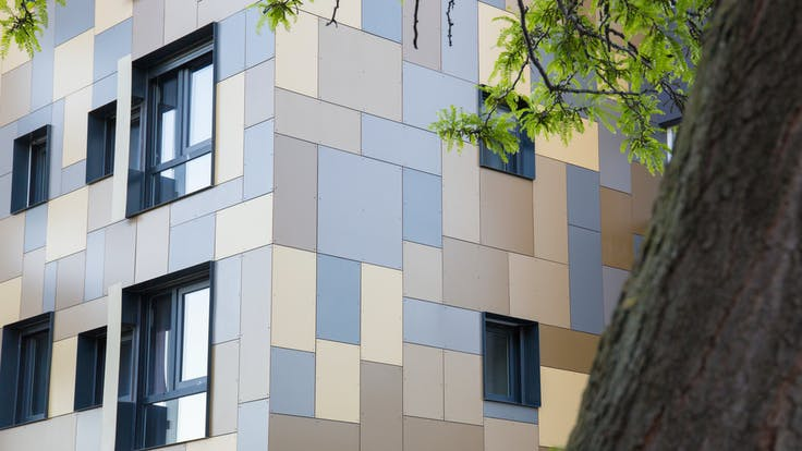 Le Petit Train in Montpellier, France cladded with Rockpanel Colours facade cladding