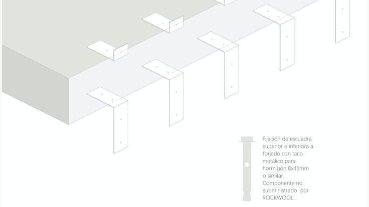 Installation process Curtain Wall - System MC 60-90 Firestop strips, curtain wall, fire protection, facade, installation, FP.  Proceso de instalación Sistema Conlit MC 60-90: Instalación paso a paso, Franja cortafuego, muro cortina, fachada panel. Conlit Alu  Step 2. Paso 2