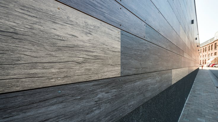 Sale de Sports in Celles, Belgium cladded with Rockpanel Woods facade cladding