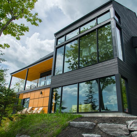 Modern, home, exterior, windows, walls, panel, forest, residential