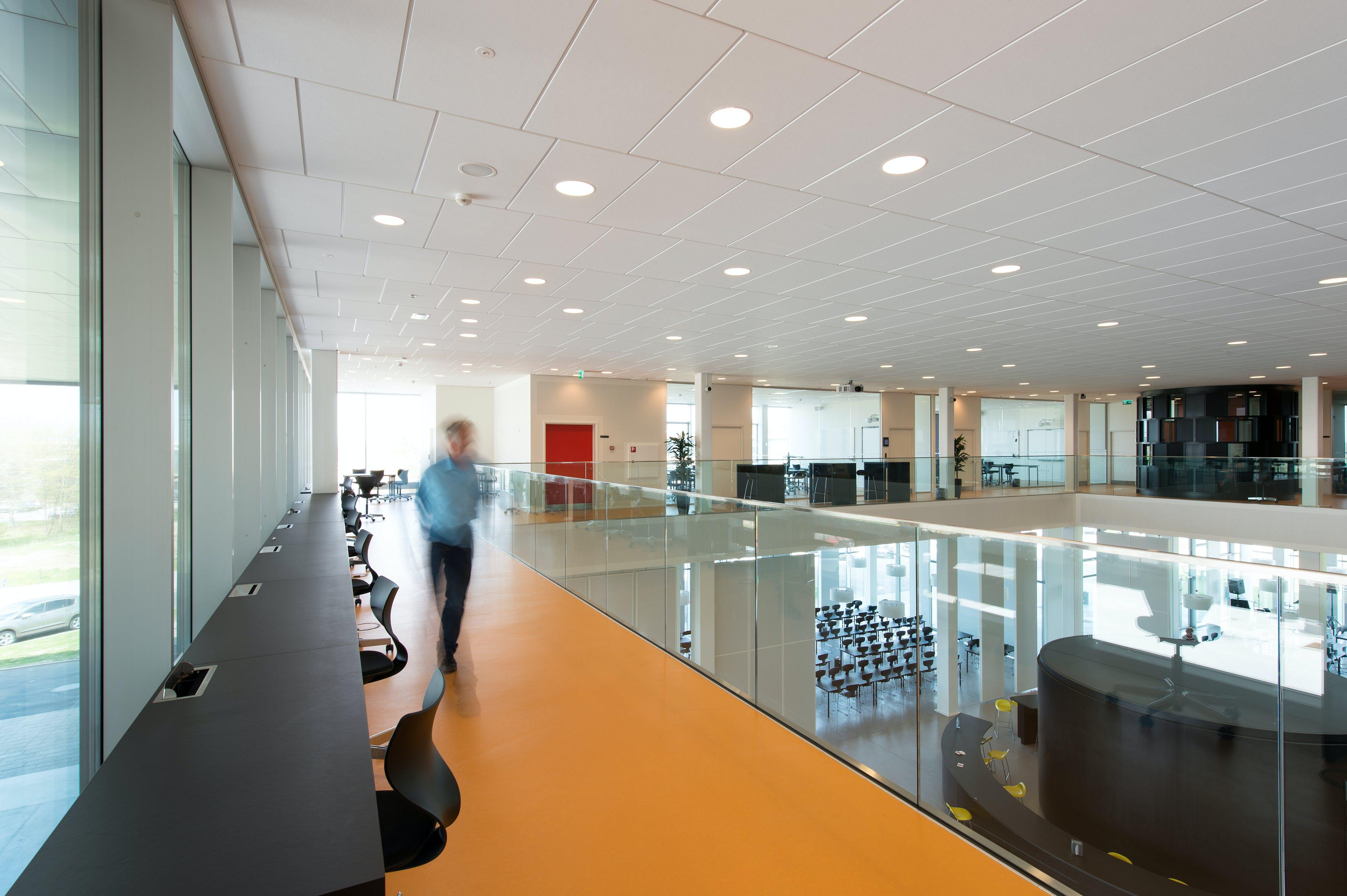 Campus Roskilde, Sonar E-edge 1200x600, VertiQ 1800x1200 wall absorbers, education