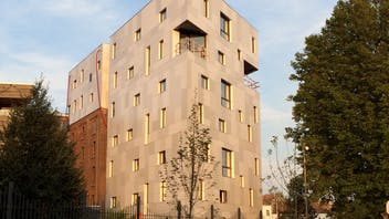 Belle Vue Brewery in Brussels, old brewery transformed into Hotel Belvue. This building is clad with Rockpanel Ply facade cladding.