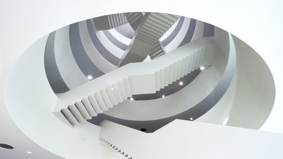 Stairs in Reception area of Nieuwe Rechtbank in Amsterdam The Netherlands with Rockfon Mono Acoustic