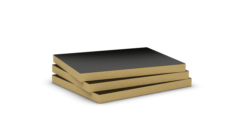 Mono density, mid-high density stone wool slab with black aluminium. Products: Conlit Ductboard 120
