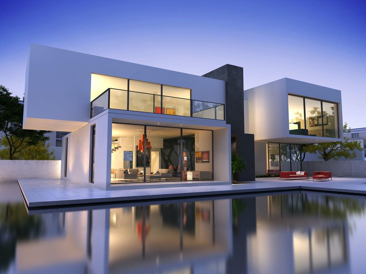 Home, modern, exterior, windows, wall