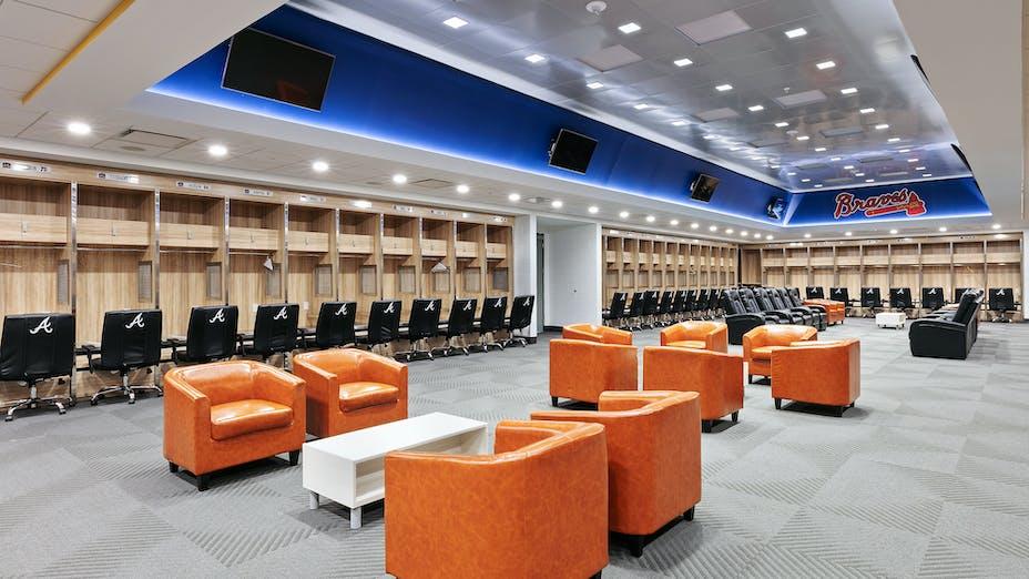 NA, Atlanta Braves CoolToday Park, Artic SLN (E-Edge) 2x2, 4500 Ultraline, Planostile Snap-In 2x2 in Satin Silver, Locker Room, Leisure, Fawley Bryant Architecture