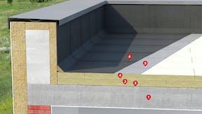 Ocieplenie Dachu Płaskiego na  STROPIE BETONOWYM Warstwy Klejone (numerki) flat froof, HARDROCK MF PLUS