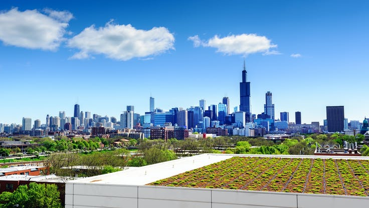 North America green building design and construction using green roofs to save energy, absorb rainfall, and help cool the air during the summer when the humidity and temperature in urban areas is much higher than nearby countrysides. Sustainable infrastructure and buildings.