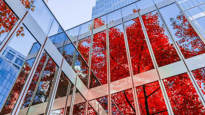 Commercial building with reflection